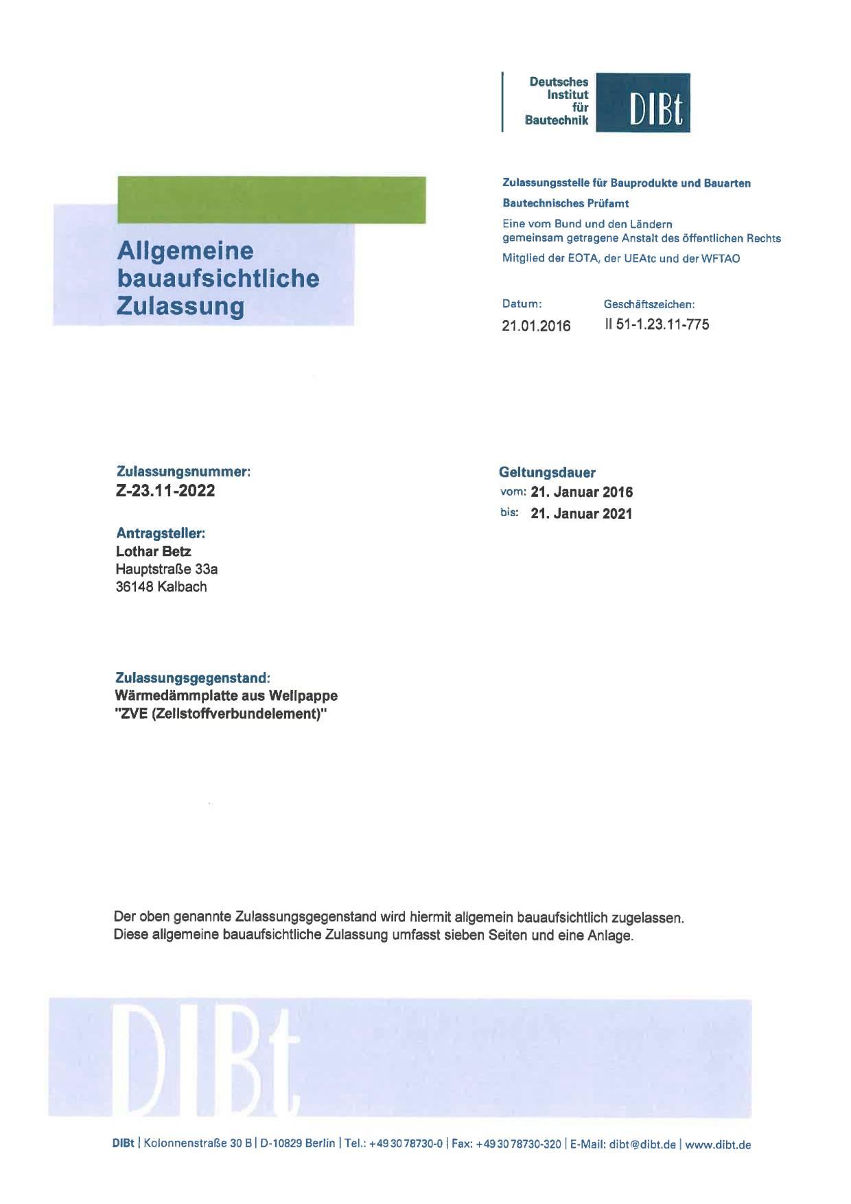 Allgemeine Bauaufsichtliche Zulassung Erteilt Betz Dammelemente